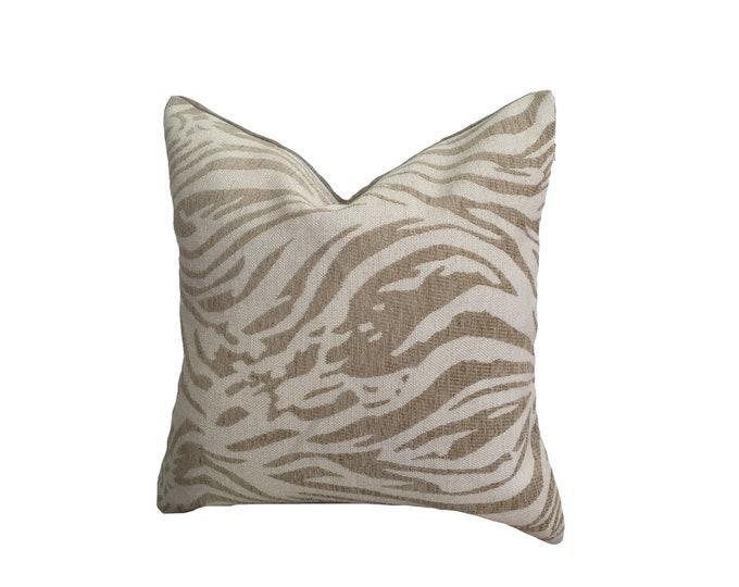 Tiger Pattern Pillow, white velvet Pillow, Cotton Linen Pillow, Boho, Rustic Pillow