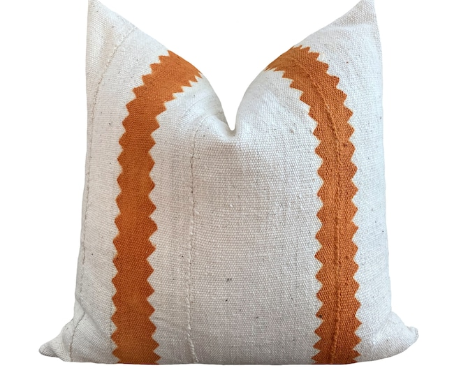 Authentic Mudcloth Pillow Cover, African Mud Cloth, Modderdoek, Bogolan Pillow Cover White and Orange