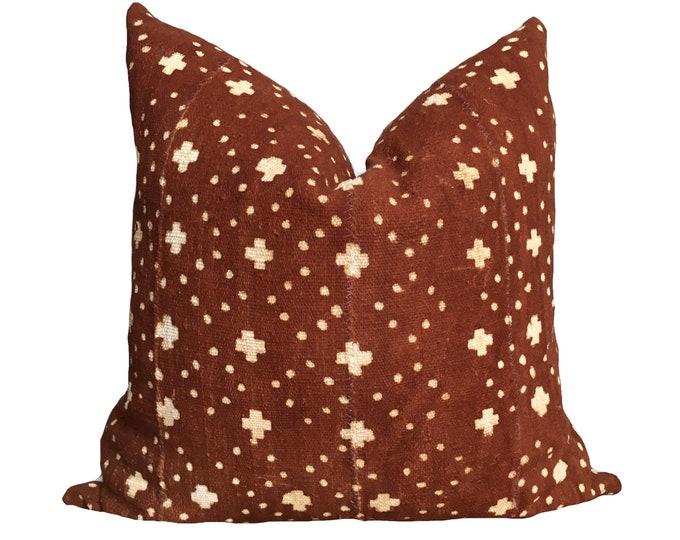 "18""x18"" Mudcloth Pillow Cover Rust Brown Cross Motif"