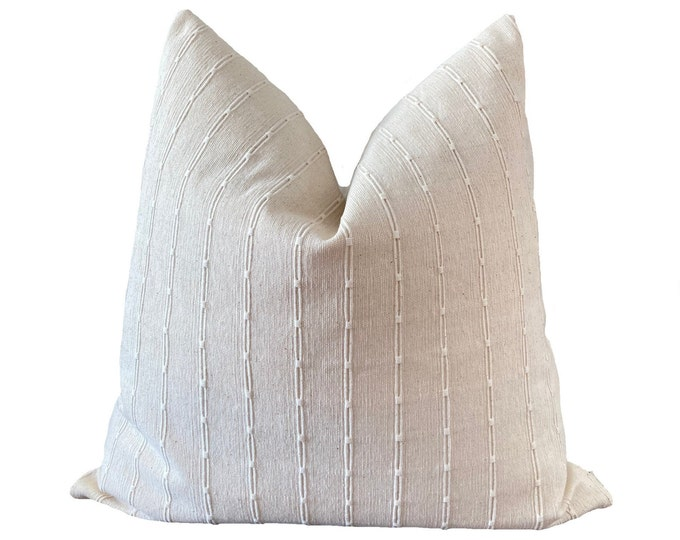 RUNE || Chiang Mai Cotton Pillow Cover | Handwoven ecru with woven accents | Origin: Thailand
