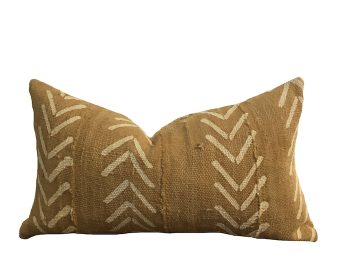 Mudcloth Pillow Cover, African Mud Cloth, Yellow Ochre Arrow Motif