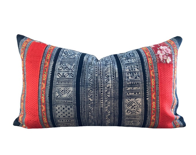 Authentic Tribe Hill, Vintage Hmong Pillow Cover, Indigo Hemp 12 x 20 in, 30 x 50 cm