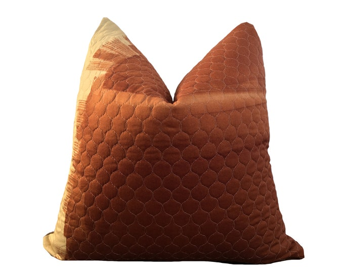Designer Pillow Rust Brown Quilted Motif