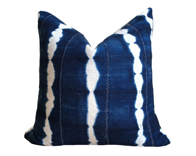 Authentic Indigo Mud Cloth Pillow Cover, Shibori Indigo, Burkina Faso Indigo, Bogolan Pillow