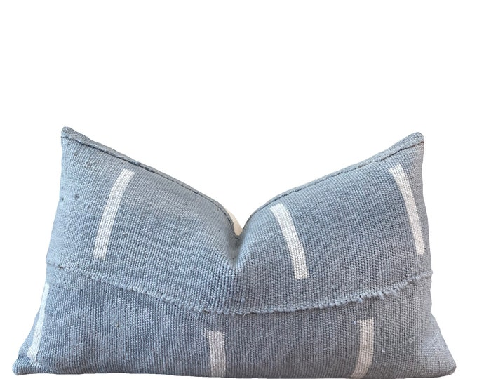 DJELLO || Vintage Mudcloth Pillow Cover | Washed Blue and White Mud Cloth | Origin: Mali