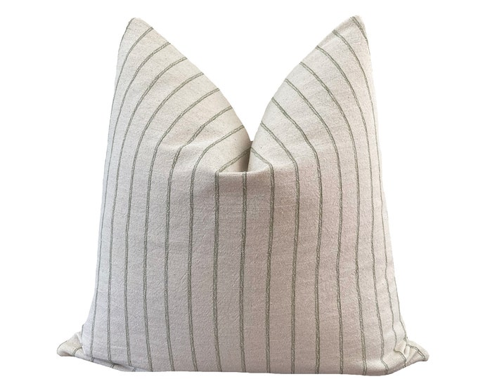 CHAKRII || Chiang Mai Cotton Pillow Cover | Handwoven ecru and sage green stripe | Origin: Thailand