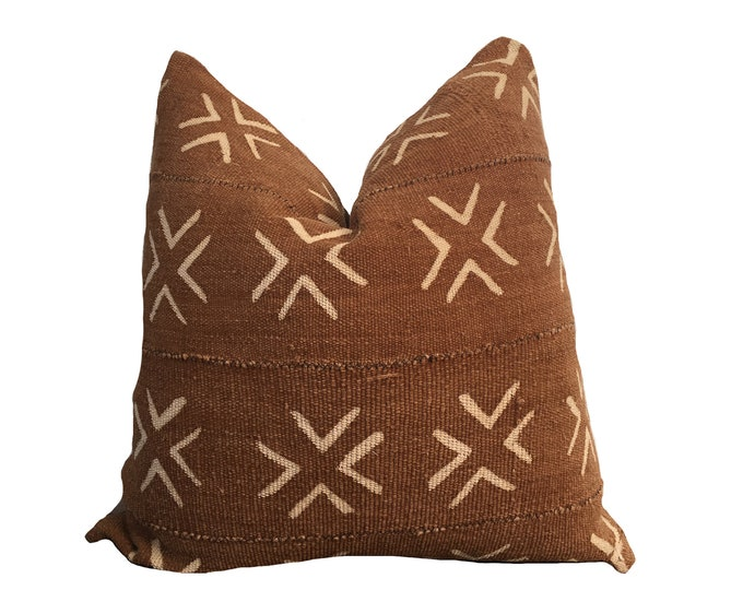 Brown and Pink Mudcloth Pillow Cover, African Mud Cloth