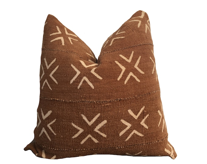 Mudcloth Pillow Cover, African Mud Cloth, Brown Cross Motif