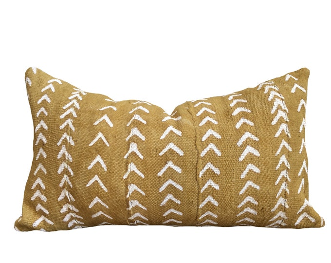 Yellow Mudcloth Pillow Cover, African Mud Cloth, Arrow Motif
