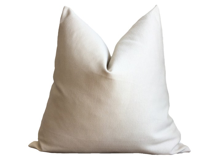 "18""x18"" Minimalist Pillow Sand Beige Cotton Sateen"