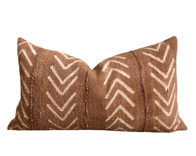 "12""x20"" Mudcloth Pillow Cover, Brown and Cream"