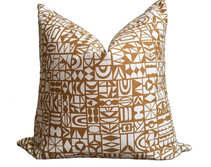 Designer Linen Pillow Brown Geometric