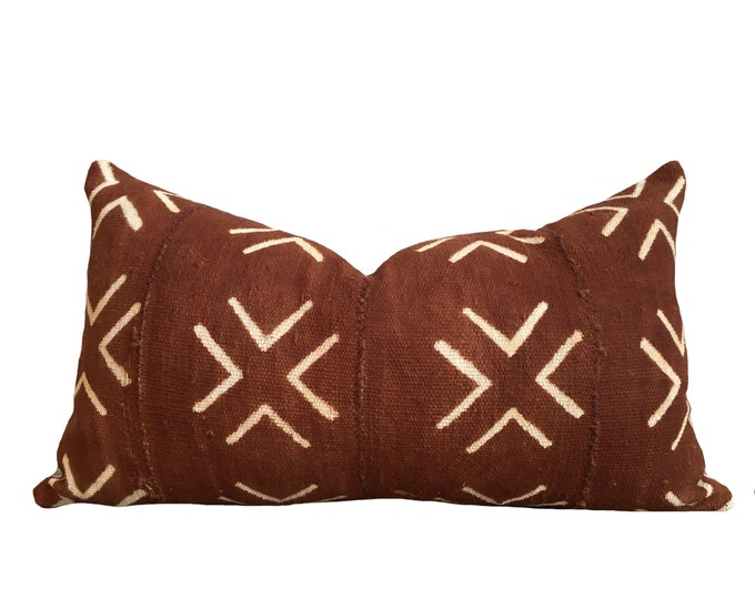 "12""x20"" Rust Brown Mudcloth Pillow Cover"