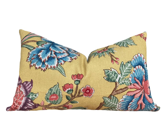 ROSI || French Cotton Pillow Cover | Yellow and Blue Floral Motif | Origin:
