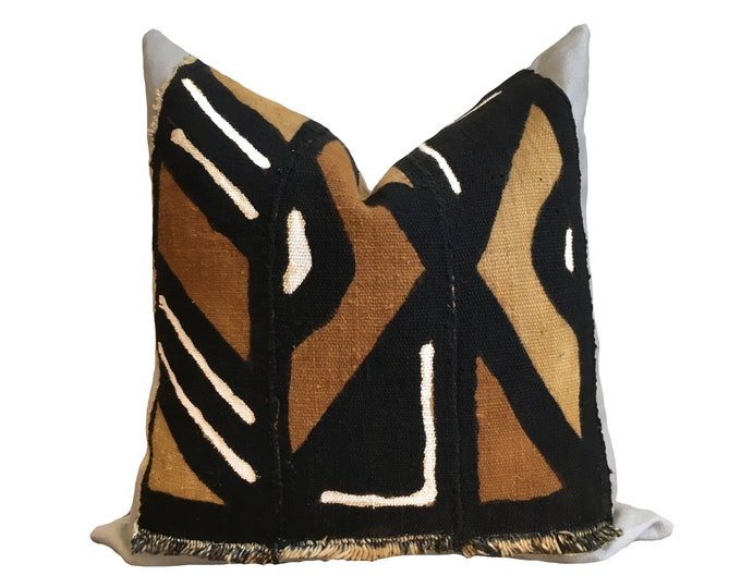 Authentic Mudcloth Pillow Cover, African Mud Cloth, Modderdoek, Bogolan Pillow Cover Black and Brown