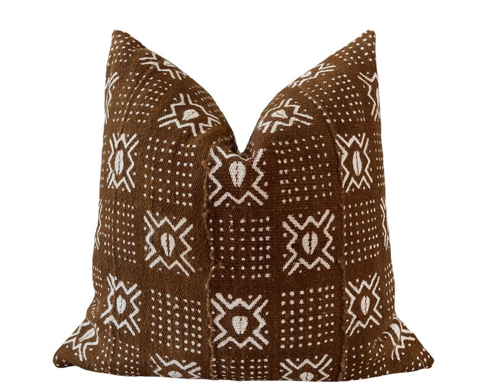 SEYDOU || Vintage Mudcloth Pillow Cover | Dark Olive Brown Mud Cloth | Origin: Mali