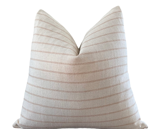 BUPPHA || Chiang Mai Cotton Pillow Cover | Handwoven ecru and rose pink or sage green stripe | Origin: Thailand