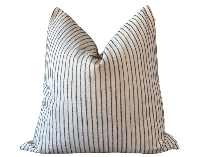 ARAN || Chiang Mai Cotton Pillow Cover | Handwoven ecru with black stripes | Origin: Thailand