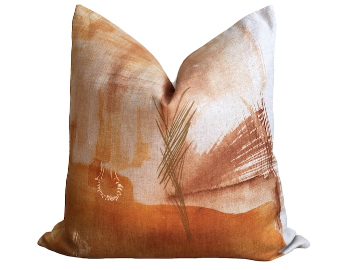 "18""x18"" Japanese Pillow, Linen Pillow Watercolor Print, Copper, Orange"