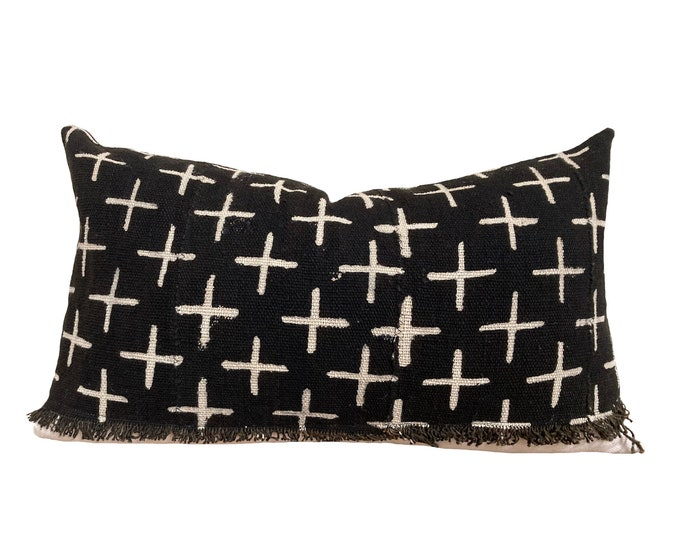 """12""""x20""""  Mudcloth Pillow Cover, African Mud Cloth, Black and Cream"""
