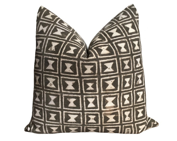 Authentic Vintage Mudcloth Pillow Cover, charcoal
