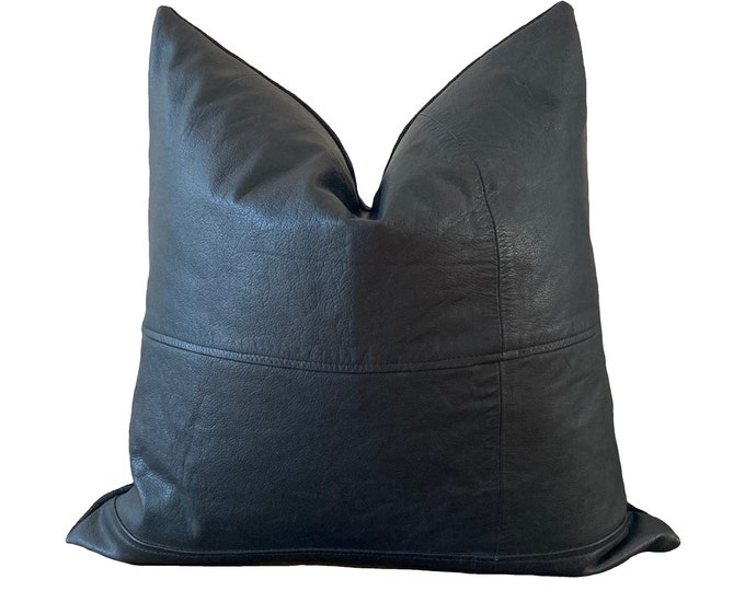 Black Leather Pillow, handmade with vintage leather - Limited edition