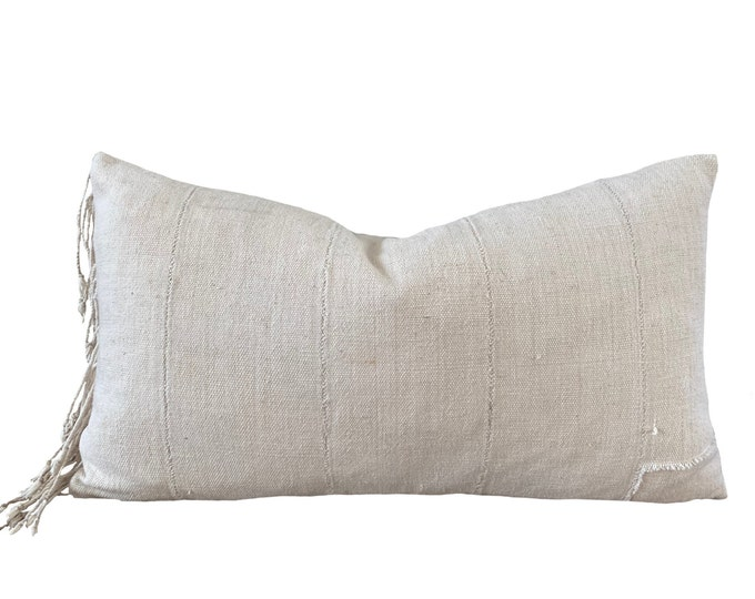 """12""""x20"""" Vintage White Mudcloth Pillow Cover with Fringe"""