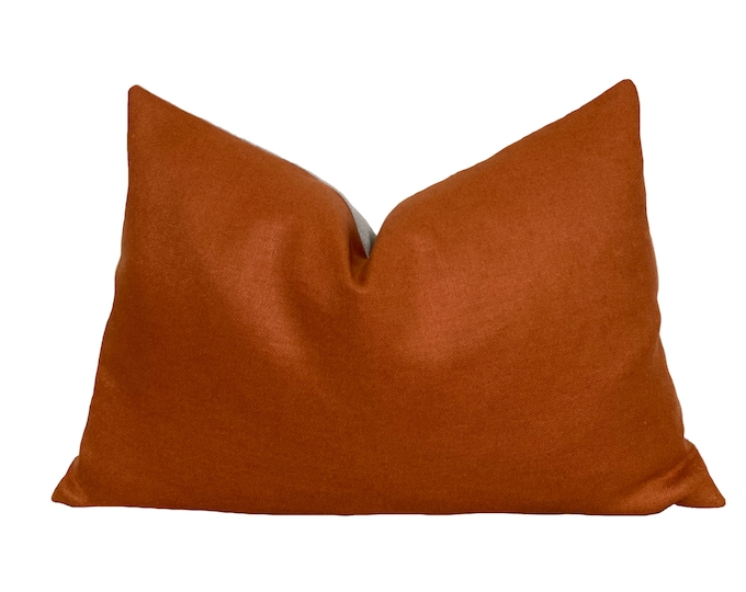 Orange Linen Pillow Cover