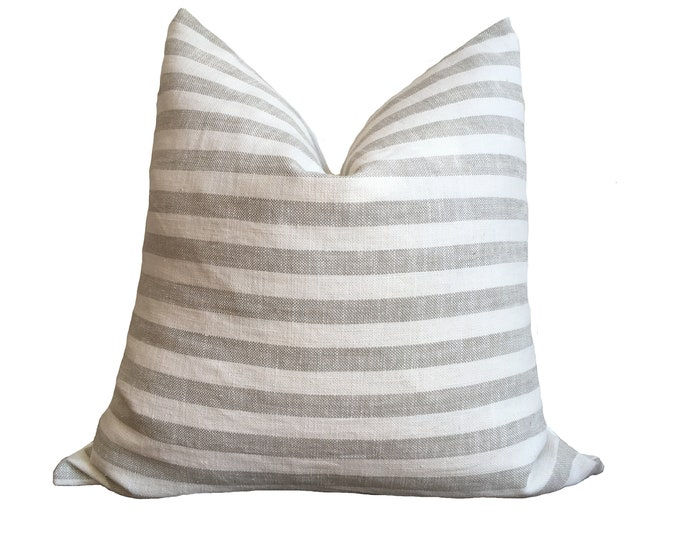 "18""x18"" Japanese Linen Pillow Gray and White Stripes"