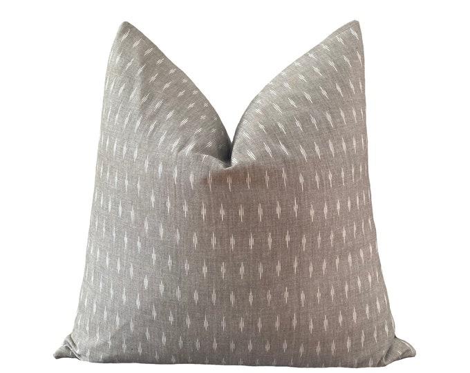 AMAR || Ikat Pillow Cover | Warm Gray Cotton | Origin: India