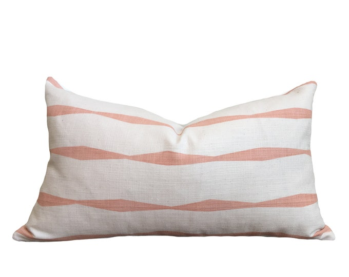 "12""x20"" Skinny laMinx Pillow Cover Pink and White"