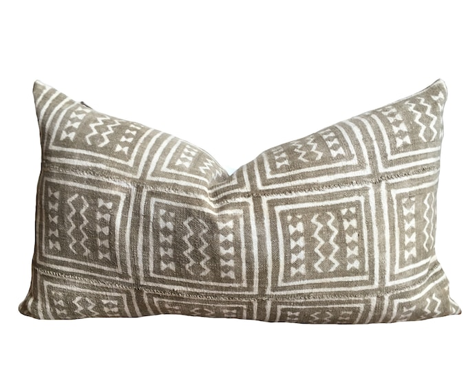 INGE || Vintage Grey Mud Cloth Pillow Cover | Washed light grey mud cloth | origin: Mali LAST STOCK!
