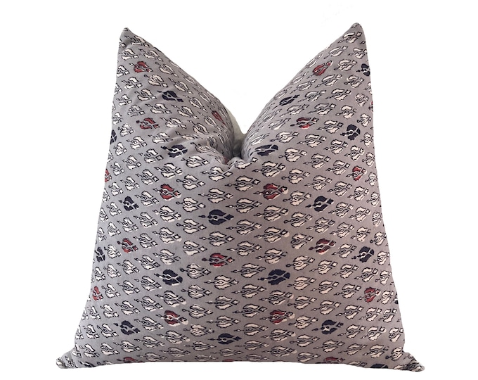 DARSHA || Block Print Pillow Cover | Taupe with red accents | Origin: India