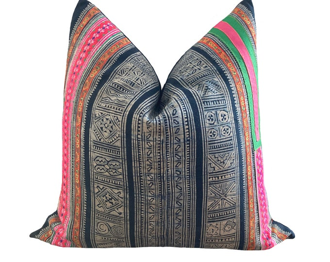 Authentic Tribe Hill, Vintage Hmong Pillow Cover, Indigo Hemp 20 x 20 in, 50 x 50 cm