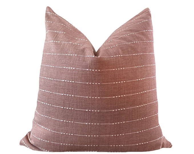 UBON || LAST STOCK!!! || Chiang Mai Cotton Pillow Cover | Handwoven Salmon Pink with woven accents | Origin: Thailand