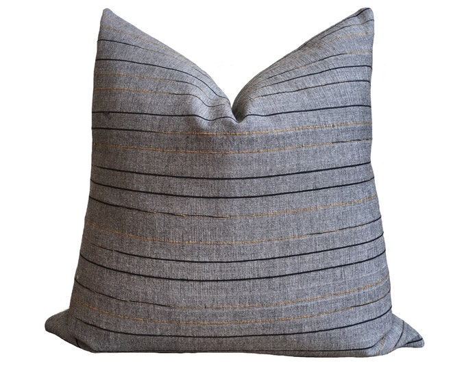 "18""x18"" Handspun Chomthong Pillow, grey & black cotton"