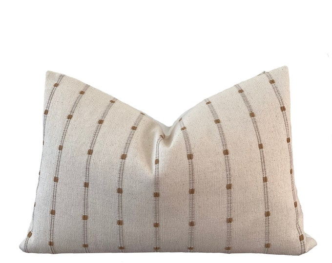 NIN || Chiang Mai Cotton Pillow Cover | Handwoven ecru with woven accents | Origin: Thailand