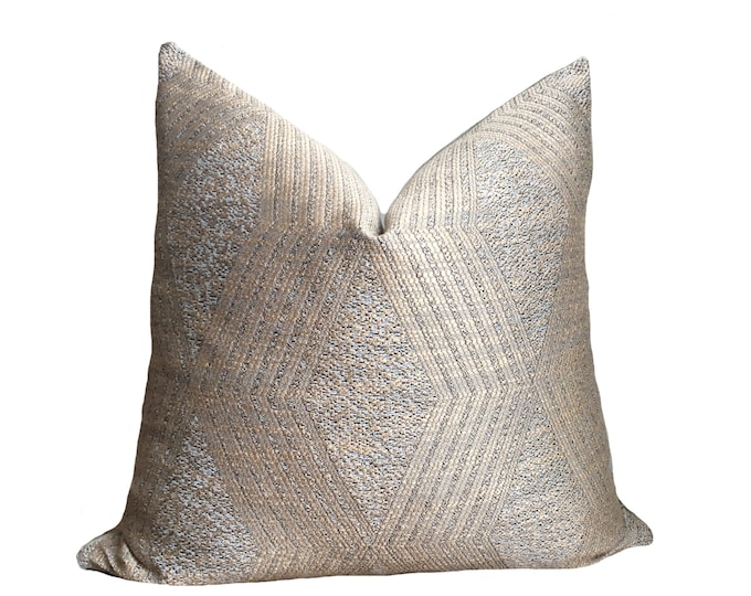 ALOU || Moroccan Style Rose Gold Cushion Cover | Diamond Pattern with Liver Linen