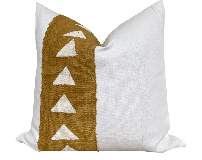 Authentic Mudcloth Pillow Cover, African Mud Cloth, Modderdoek, Bogolan Pillow, Yellow and White