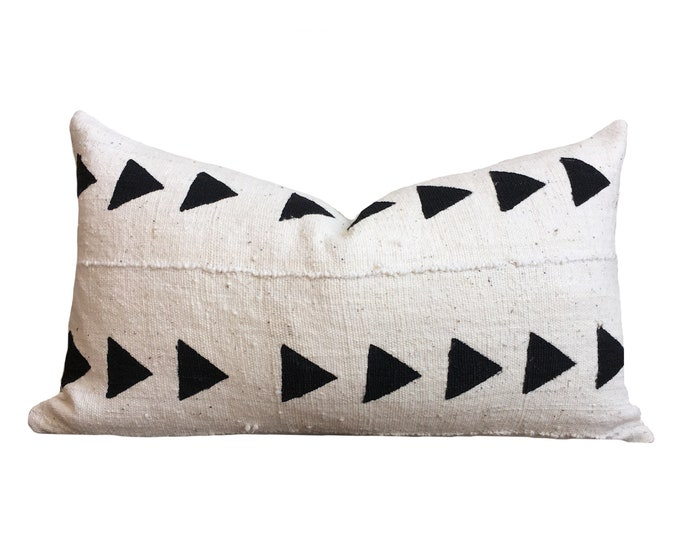 White Mudcloth Pillow Cover, African Mud Cloth, Triangle Motif