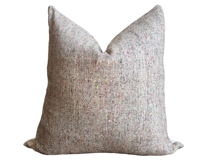 "18""x18"" Silk Noil Pillow Cover, Indian Textile, Heather Brown"