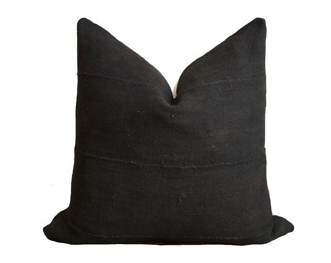 Authentic Black Mudcloth Pillow Cover, African Mud Cloth Cushion, Black Bogolan, Modderdoek