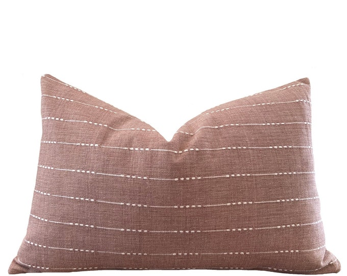 UBON || Chiang Mai Cotton Pillow Cover | Handwoven Salmon Pink with woven accents | Origin: Thailand