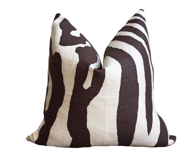 Linen Pillow Cover, White and Brown Pillow, Zebra Pillow