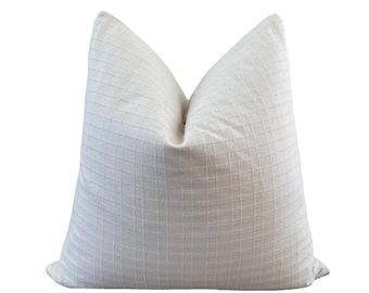 PREEDA    Chiang Mai Cotton Pillow Cover   Handwoven ecru and sage green stripe   Origin: Thailand