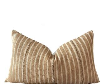 YAMBO    Vintage Mud cloth cushion Cover   Yellow and cream Mud Cloth   Origin: Mali