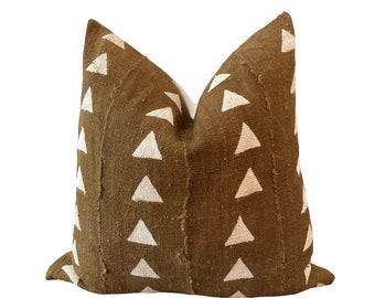 WALI    Vintage Mudcloth Cushion Cover   Olive green mud cloth pillow   Origin: Mali