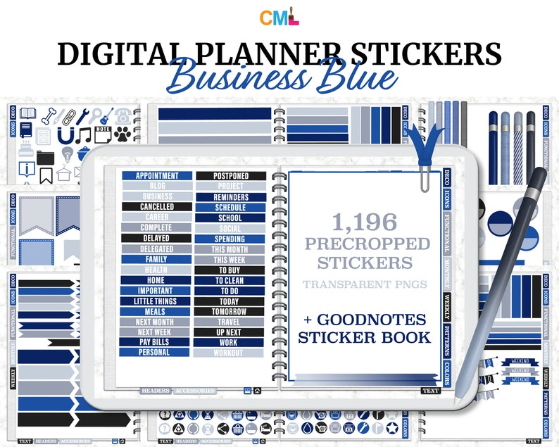 Business Blue Digital Planner Stickers & Goodnotes Sticker image 0