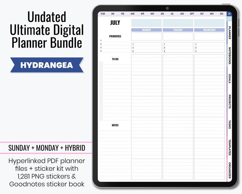 Undated Ultimate Digital Planner PDF & Digital Stickers  image 1