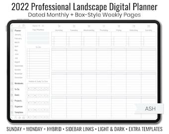 2022 Minimal Professional Landscape Digital Planner - Light & Dark Mode - Box-Style Weekly Layout - Sunday + Monday + Hybrid - Ash